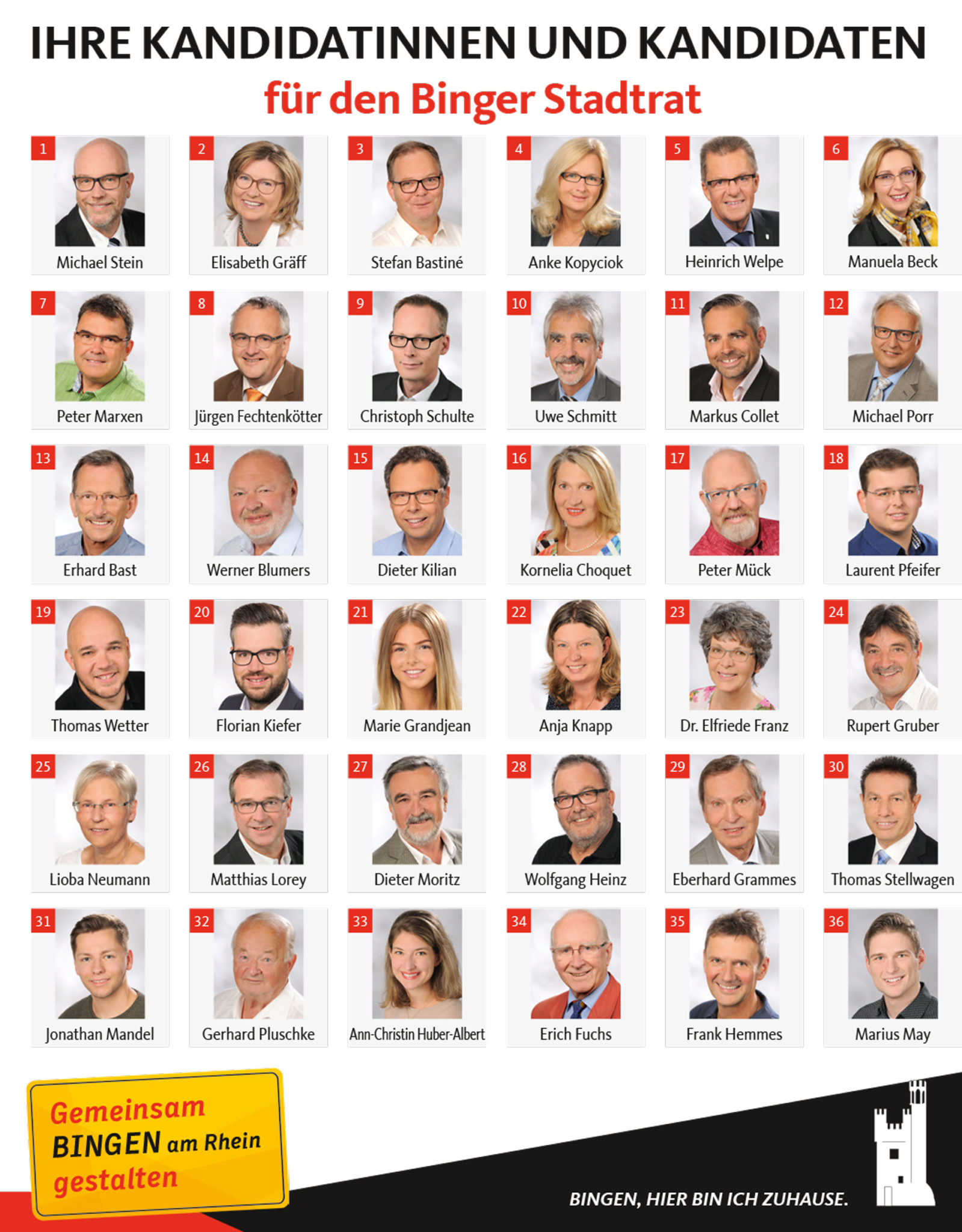 Kandidaten Stadtrat Bingen